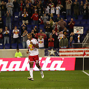 Thierry Henry, New York Red Bulls, celebrates after scoring lobbing the Toronto goalkeeper Freddy Hall during his Man of the Match performance during the New York Red Bulls V Toronto FC  Major League Soccer regular season match at Red Bull Arena, Harrison. New Jersey. USA. 29th September 2012. Photo Tim Clayton