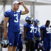 Kicker Josh Brown at training during the 2013 New York Giants Training Camp at the Quest Diagnostics Training Centre, East Rutherford, New Jersey, USA. 29th July 2013. Photo Tim Clayton.