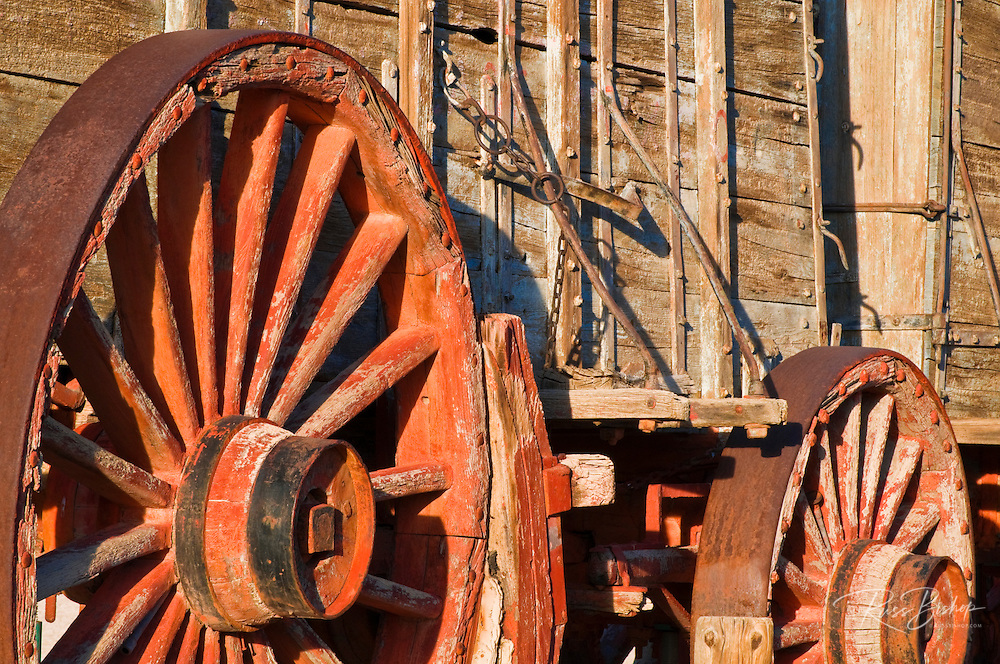 Wagon wheels at the Harmony Borax Works, Death Valley National Park. California USA