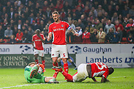 Charlton Athletic goalkeeper Dillon Phillips (1) makes a save during the EFL Sky Bet League 1 second leg Play-Off match between Charlton Athletic and Doncaster Rovers at The Valley, London, England on 17 May 2019.