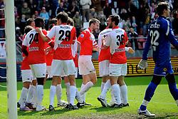 16-05-2010 VOETBAL: FC UTRECHT - RODA JC: UTRECHT<br /> FC Utrecht verslaat Roda in de finale van de Play-offs met 4-1 en gaat Europa in / Jacob Mulenga scoort de 3-1, JanWuytens, Barry Maguire, Alje Schut, Jacob Lenski<br /> ©2010-WWW.FOTOHOOGENDOORN.NL