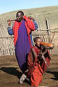 Africa, Tanzania, Lake Eyasi, Maasai men drinking cow blood or Blood Milk. an ethnic group of semi-nomadic people February 2006