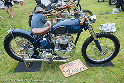 Invited builder Bryan Thompson's custom Triumph on Day one of the Born Free Vintage Chopper and Classic Motorcycle Show at the Oak Canyon Ranch in Silverado, CA. USA. Saturday, June 28, 2014.  Photography ©2014 Michael Lichter.
