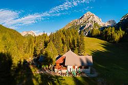 Aerial view of Zelenica Mountain Hut on September 6, 2020 in Trzic, Slovenia. Photo by Matic Klansek Velej / Sportida