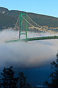 Canada, British Columbia, Vancouver, Stanley Park, part of the Lion's Gate Bridge with marine layer fog rolling in