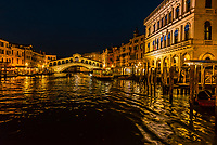 The Grand Canal and Rialto Bridge, Venice, Italy.