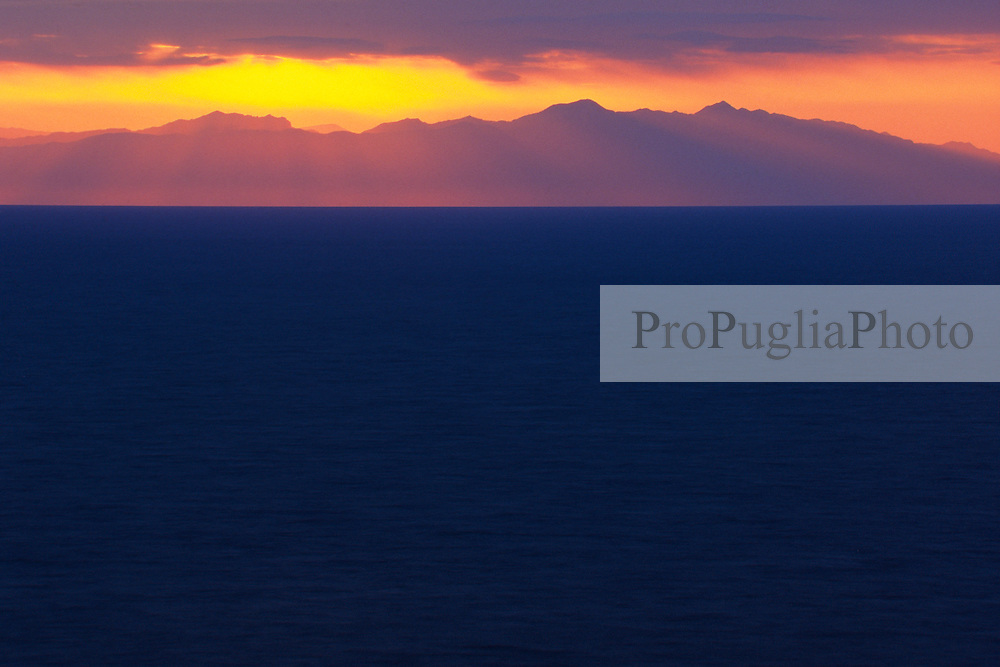 Sunrise over the Otranto channel with Albanian mountains