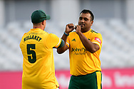 Samit Patel of Nottinghamshire celebrates taking a wicket during the Vitality T20 Blast North Group match between Nottinghamshire County Cricket Club and Leicestershire County Cricket Club at Trent Bridge, Nottingham, United Kingdom on 4 September 2020.