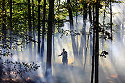 Bean Blossom Township firefighter Thomas Goodwin puts out hotspots after a blaze burned several acres of floor covering in a forested area near E. Stone Mill Rd. (Photo by Jeremy Hogan)