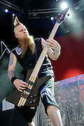 Five Finger Death Punch performing at Mayhem Fest 2010 on July 20 at Verizon Wireless Amphitheater in St. Louis