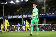 Everton goalkeeper Jordan Pickford (1) during the Premier League match between Everton and Chelsea at Goodison Park, Liverpool, England on 17 March 2019.