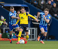 Oxford United's Nathan Holland (centre) under pressure from Blackpool's Jay Spearing (left) and Oliver Turton (right) <br /> <br /> Photographer David Horton/CameraSport<br /> <br /> The EFL Sky Bet League One - Oxford United v Blackpool - Saturday 1st February 2020 - Kassam Stadium - Oxford<br /> <br /> World Copyright © 2020 CameraSport. All rights reserved. 43 Linden Ave. Countesthorpe. Leicester. England. LE8 5PG - Tel: +44 (0) 116 277 4147 - admin@camerasport.com - www.camerasport.com