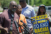 Jahi Adisa Bakari, father of one of the girls in the viral pool party video, speaks during a press conference outside the McKinney Police Headquarters in McKinney, Texas on June 8, 2015.  (Cooper Neill for The New York Times)