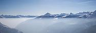 Italy, Valtellina,Chiesa Valmalenco: Panorama sulle montagne.