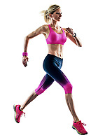 one caucasian woman sport runner running jogger jogging isolated on white background