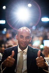 © Licensed to London News Pictures . 16/09/2019. Bournemouth, UK. CHUKA UMUNNA gives two thumbs up from the audience prior to listening to Ed Davey's speech during the Liberal Democrat Party Conference at the Bournemouth International Centre . Photo credit: Joel Goodman/LNP