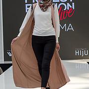 Aidijuma showcases it latest collection Modest and beautiful at the Modest and Beautiful a Modest Fashion Live at The Atrium in Westfield London on June 24, 2018.