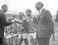 Boobby Charlton and Matt Busby (United Manager) is introduced to The Duke of Kent before the match. FA Cup Final 1963 Wembley. Manchester United v Leicester City. Credit : Colorsport