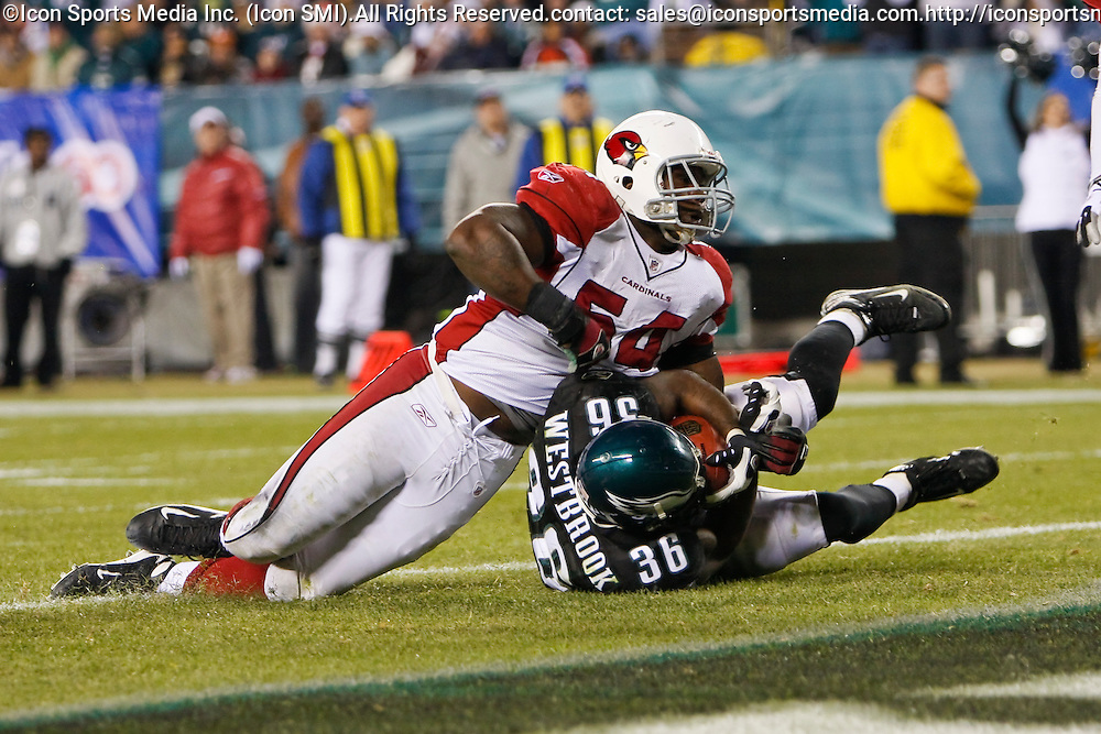 27 Nov 2008: Philadelphia Eagles running back Brian Westbrook #36 gets into the end zone for a touchdown during the game against the Arizona Cardinals on November 27th, 2008. The Eagles won 48 to 20 at Lincoln Financial Field in Philadelphia, Pennsylvania.