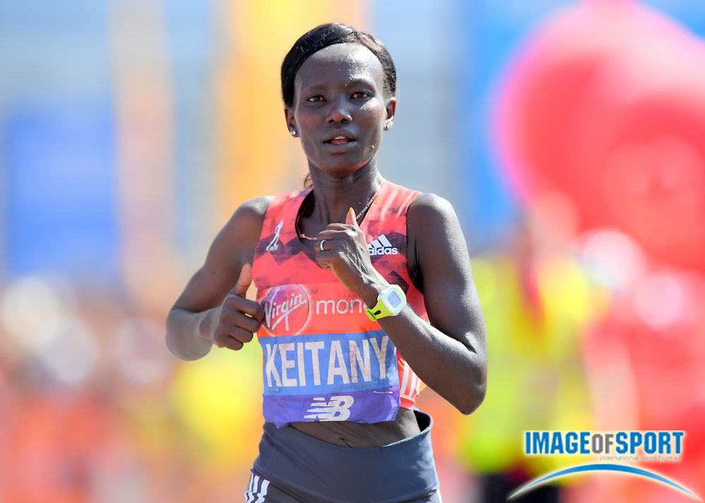 Mary Keitany (KEN) places fifth in the women's race in 2:24:27 in the London Marathon in London, Sunday, April 22, 2018. (Jiro Mochizuki/Image of Sport)