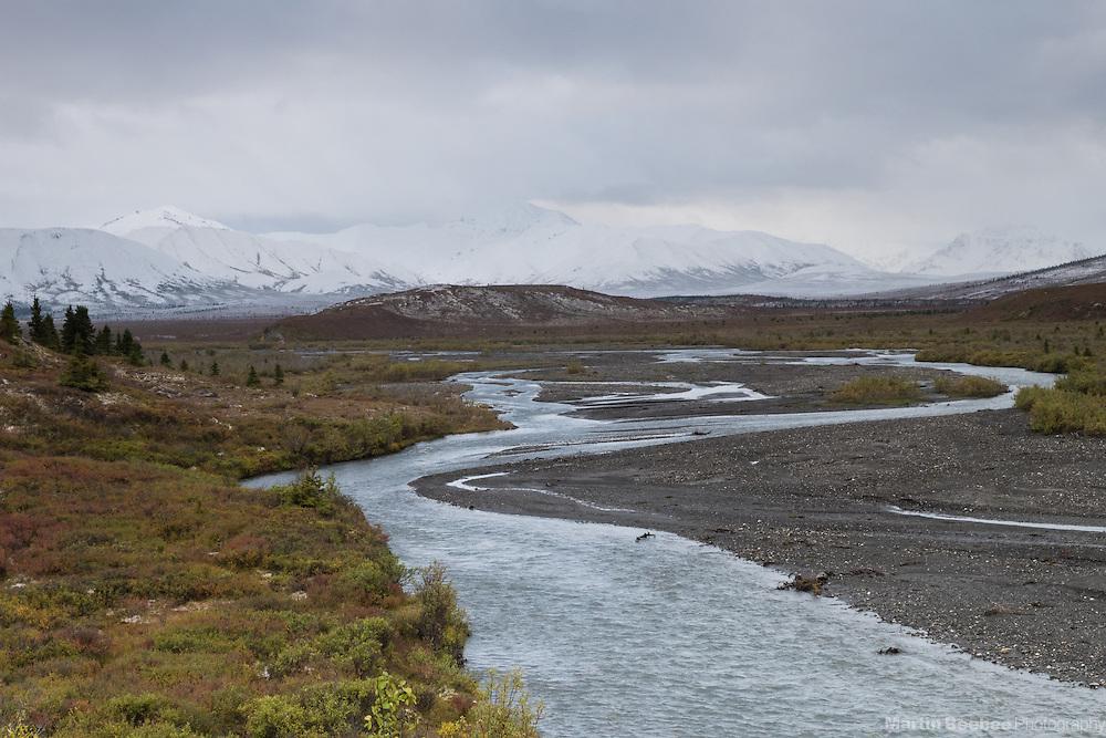The Savage River flowing below The Alaska Range, Denali National Park, Alaska