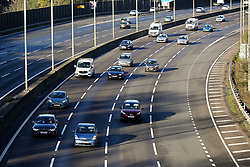 © Licensed to London News Pictures. 25/12/2019. London, UK. M1 traffic flowing on Christmas Day between junction 11A and 12 following a double crash on Christmas Eve. Highways England had to close all lanes between junction 11A to 12 northbound for nine hours and also closed junction 10 to 9 southbound due to a separate accident. Photo credit: Dinendra Haria/LNP