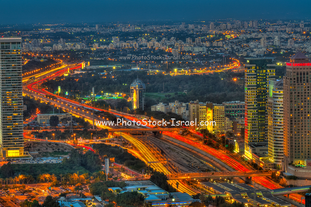 Aerial view of Tel Aviv, Israel Looking North at night. Ayalon Highway in the centre