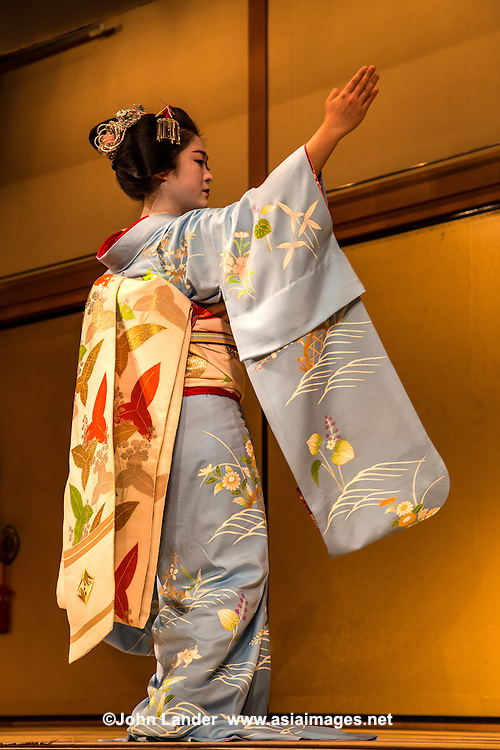Kyomai or Kyoto style maiko dance, Mai is one of these types of dances from Western Japan, that is influenced by Noh theater. Kyomai is the distinctive Kyoto version of this, expressing courtly gestures of the Tokugawa period.   Odori is another type of Japanese traditional dance that grew out of Kabuki theater.  These performances by maiko and geisha are a popular event at the Miyako Odori held every spring, for the colorful kimono, staging and Kyomai mannered song and dance.