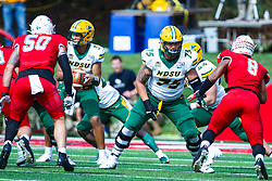 NORMAL, IL - October 05: Eli Mostaert during a college football game between the ISU (Illinois State University) Redbirds and the North Dakota State Bison on October 05 2019 at Hancock Stadium in Normal, IL. (Photo by Alan Look)