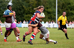 Sarah Bern of Bristol Ladies powers her way through a tackle on the way to scoring a try - Mandatory by-line: Robbie Stephenson/JMP - 18/09/2016 - RUGBY - Cleve RFC - Bristol, England - Bristol Ladies Rugby v Aylesford Bulls Ladies - RFU Women's Premiership