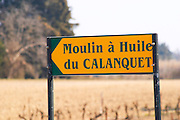 Sign to the Olive oil mill Moulin du Calanquet de Saint St Remy de Provence, Bouche du Rhone, France