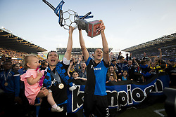 May 20, 2018 - Brugge, BELGIUM - Club's Ruud Vormer and Club's Timmy Simons celebrate after the Jupiler Pro League match between Club Brugge KV and KAA Gent, Sunday 20 May 2018 in Brugge, on the tenth and last day of the Play-Off 1 of the Belgian soccer championship. BELGA PHOTO KRISTOF VAN ACCOM (Credit Image: © Kristof Van Accom/Belga via ZUMA Press)