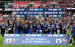 AFC Wimbledon celebrate winning The League Two Playoff Final and promotion to League One - Mandatory by-line: Robbie Stephenson/JMP - 30/05/2016 - FOOTBALL - Wembley Stadium - London, England - AFC Wimbledon v Plymouth Argyle - Sky Bet League Two Play-off Final