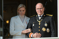 Prince Albert II, Princess Charlene of Monaco are attending on the balcony during the National Day ceremonies, Monaco Ville (Principality of Monaco), on November 19th, 2019. Photo by Marco Piovanotto/ABACAPRESS.COM