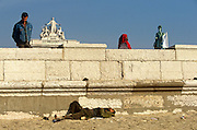 A homeless man lies in the sand near the ornate Triumphal Arch in Praça do Comércio and statue of King José I.