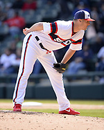 CHICAGO - APRIL 22:  Nate Jones #65 of the Chicago White Sox pitches against the Houston Astros on April 22, 2018 at Guaranteed Rate Field in Chicago, Illinois.  (Photo by Ron Vesely)   Subject:   Nate Jones