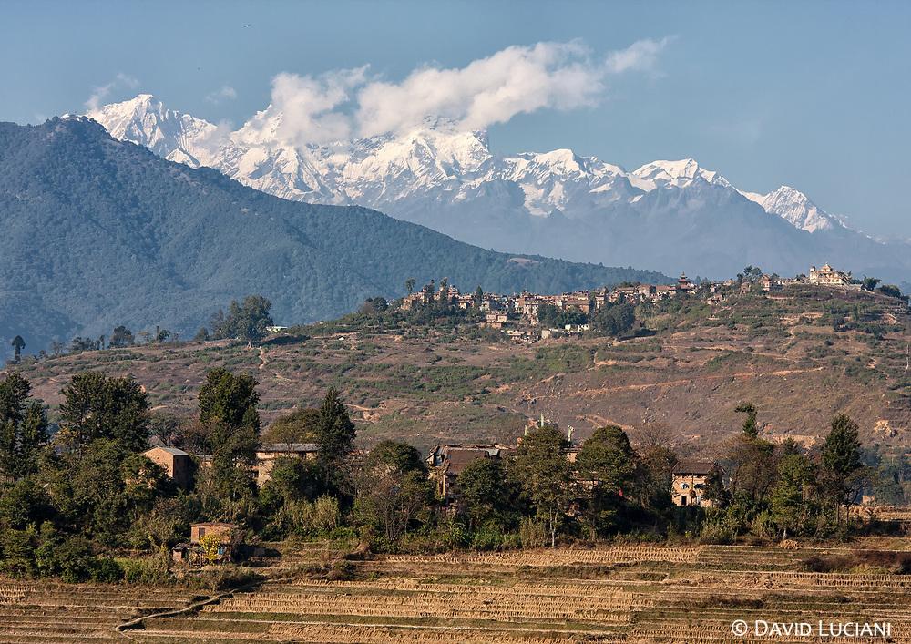 View on himalayan mountains, as seen from Khokana village.