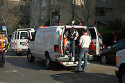 Israel, Haifa, An apartment building hit by a missile March 30th 2006 Emergency response team arriving at the scene