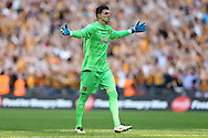 Goalkeeper Eldin Jakupovic of Hull City celebrates after Mohamed Diame of Hull City scores his teams 1st goal to make it 1-0. Skybet football league Championship play off final match, Hull city v Sheffield Wednesday at Wembley Stadium in London on Saturday 28th May 2016.<br /> pic by John Patrick Fletcher, Andrew Orchard sports photography.