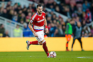 Middlesbrough forward, on loan from Valencia, Alvaro Negredo (10) with the ball during the The FA Cup match between Middlesbrough and Sheffield Wednesday at the Riverside Stadium, Middlesbrough, England on 8 January 2017. Photo by Simon Davies.