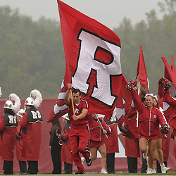 Sep 27, 2008; Piscataway, NJ, USA; The Rutgers University Scarlet Knights cheerleaders lead the team onto the field before Rutgers defeata the Morgan State Bears 38-0.