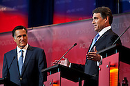 Mitt Romney and Rick Perry..Eight republican candidates for US President face off at a debate held at the Ronald Reagan Library. The debate was sponsored by NBC News and POLITICO, and was moderated by Brian Williams, anchor of NBC Nightly News.
