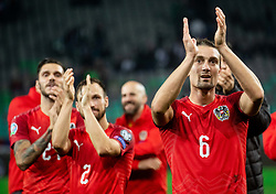 Andreas Ulmer of Austria and Stefan Ilsanker of Austria celebrate after winning during the 2020 UEFA European Championships group G qualifying match between Slovenia and Austria at SRC Stozice on October 13, 2019 in Ljubljana, Slovenia. Photo by Vid Ponikvar / Sportida