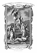 Jacob's dream of angels ascending and descending ladder to heaven. 'Bible': Genesis 28.12