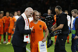 (L-R), Gianni Infantino, Wesley Sneijder of Holland during the International friendly match match between The Netherlands and Peru at the Johan Cruijff Arena on September 06, 2018 in Amsterdam, The Netherlands