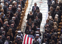 McCain family walks in the recessional ending the memorial service for the late United States Senator John S. McCain, III (Republican of Arizona) in the Washington National Cathedral in Washington, DC, USA on Saturday, September 1, 2018. Photo by Ron Sachs/CNP/ABACAPRESS.COM