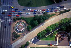 Aerial of Mecom Fountain at Intersection of Montrose Boulevard, Main Street, Hermann Drive and Fannin Street in downtown Houston Texas