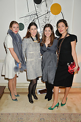 Left to right, HELENA FORTON, JOCASTA MARIA PANA, EVA-MARIA DIMITRIADIS and SHAHRZAD MOAVEN at a private view 'Urushi Lacquer - East Meets West' celebrating the ancient tradition of Japanese lacquer art held at the South Kensington Club Mews House, Queensberry Mews, London SW7 on 12th March 2015.