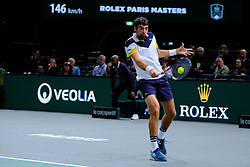 October 30, 2017 - Paris, France - The French player JEREMY CHARDY returns the ball to French player GILLES SIMON during the tournament Rolex Paris Master at Paris AccorHotel Arena Stadium in Paris France.Jeremy Chardy won 6-3 6-0 (Credit Image: © Pierre Stevenin via ZUMA Wire)