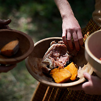 A civilian woman provides food to a soldier during the Battle of Perryville 150th Anniversary in Perryville, Kentucky.